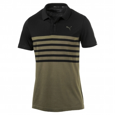 Polo manches courtes maille jersey olive Stripe Puma®