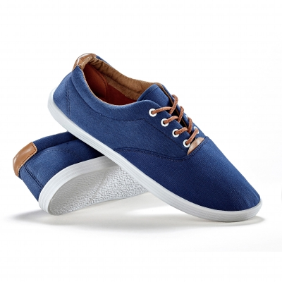 Sneakers toile lacets Marine: Vue 1
