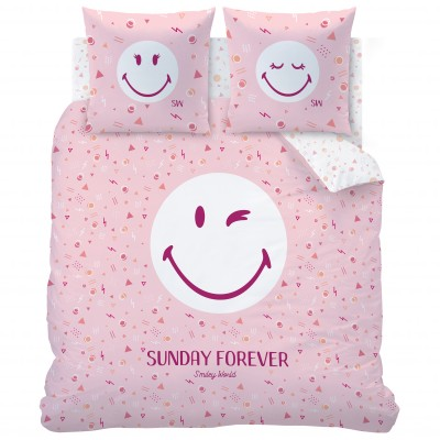 Parure de lit Smiley Sunday - coton Rose: Vue 2