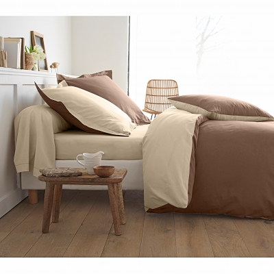 Taie bicolore coton Taupe / sable: Vue 2