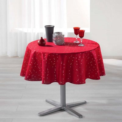 Nappe shantung antitache imprimé triangles Rouge: Vue 2