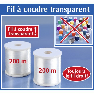 Fil à coudre invisible - lot de 2 Transparent: Vue 2