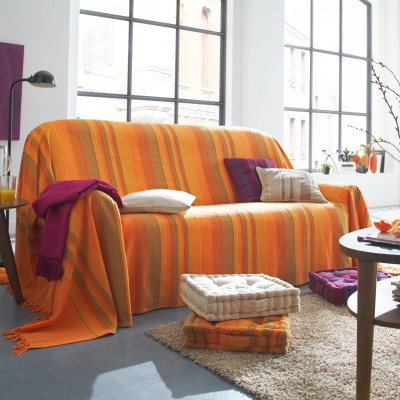 Plaid ou jeté tissé multicolore Orange: Vue 2