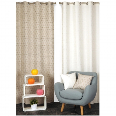 Rideau obscurcissant jacquard triangles Taupe: Vue 2