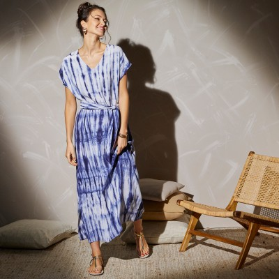 Robe longue maille tie and dye Bleu: Vue 2