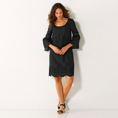 Robe broderie anglaise manches 3/4 Noir: Vue 2