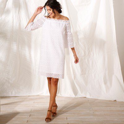 Robe courte broderie anglaise Blanc: Vue 2