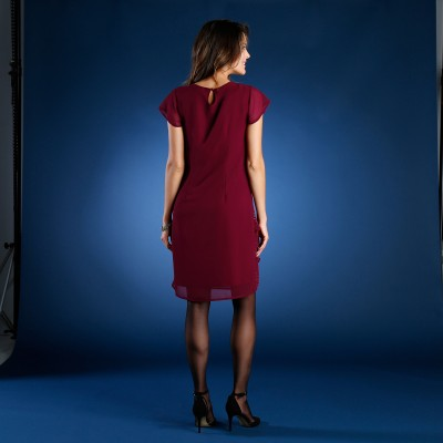 Robe strass volants Bordeaux: Vue 2
