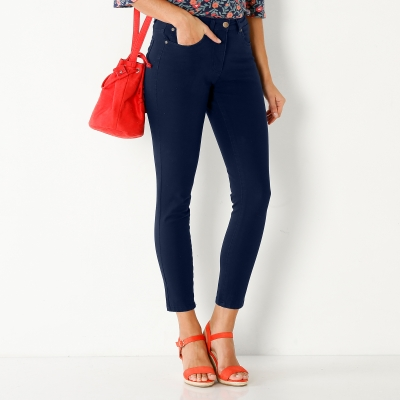 Pantalon 7/8 bi-stretch couleur Marine: Vue 2
