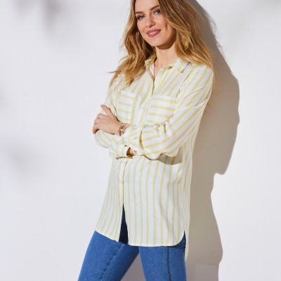 Chemise rayée manches longues Blanc / anis: Vue 2