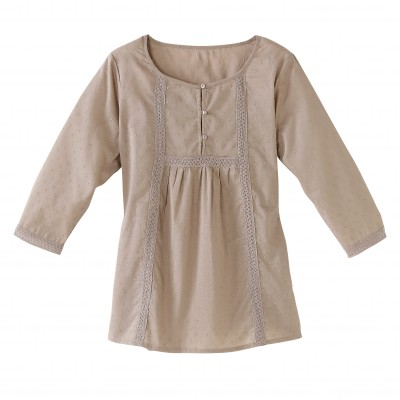 Blouse plumetis manches 3/4 Taupe: Vue 2