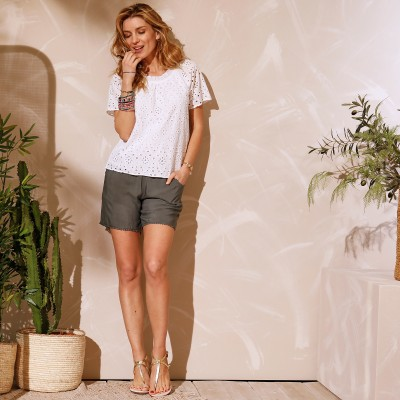 Top broderie anglaise Blanc: Vue 2