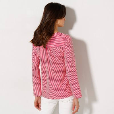Blouse col V rayée Blanc / rouge: Vue 2