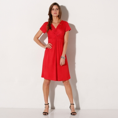 Robe maille fluide unie Rouge: Vue 2
