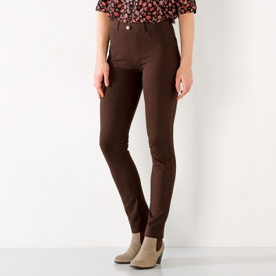 Pantalon uni maille ultra stretch Chocolat: Vue 2