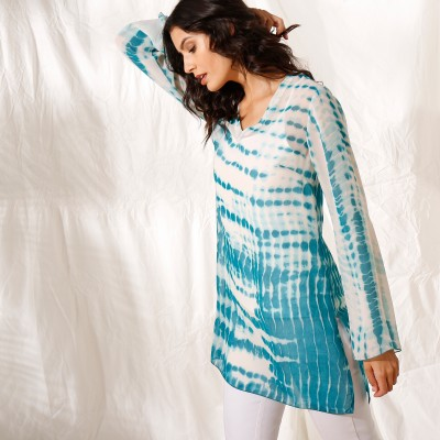 """Blouse ample col V voile effet """"tie and dye"""" Bleu: Vue 2"""