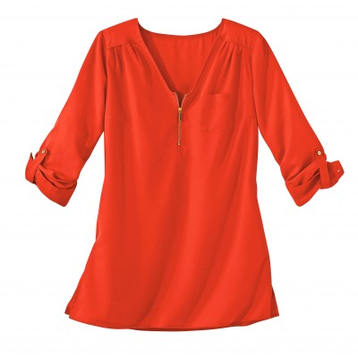 Blouse zippée unie Orange: Vue 2