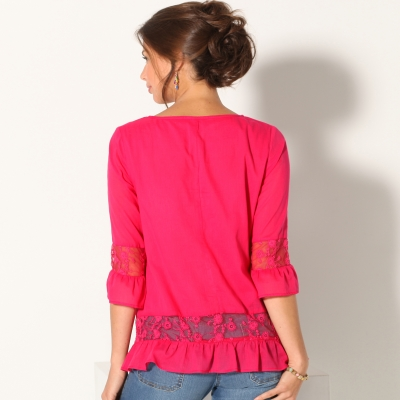 Blouse manches 3/4 tulle brodé Framboise: Vue 2