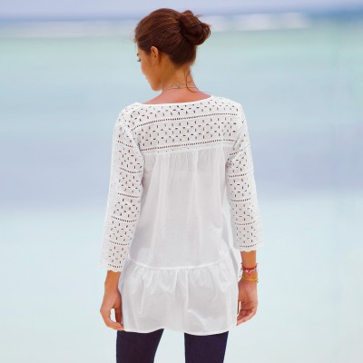 Blouse manches 3/4 broderie anglaise Blanc: Vue 2