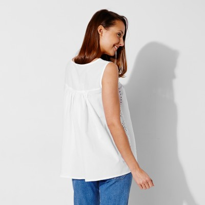 Blouse col rond broderie anglaise Blanc: Vue 2