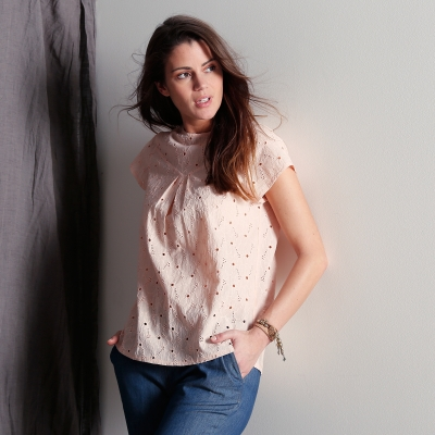 Blouse broderie anglaise Rose poudré: Vue 2