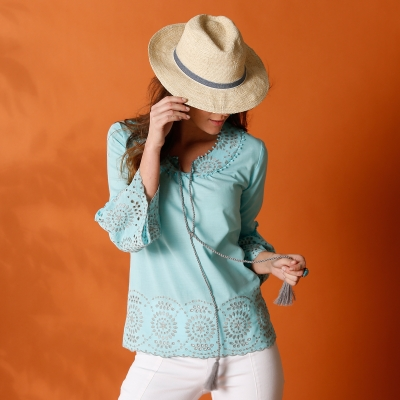 Blouse en broderie anglaise Turquoise: Vue 2