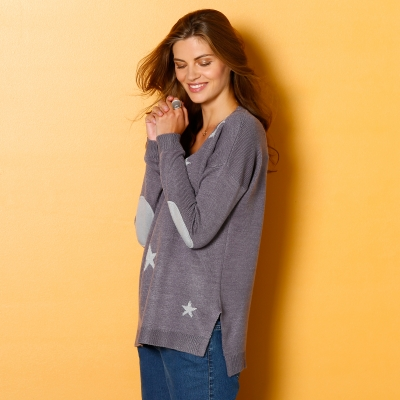 Pull étoiles col V Anthracite / gris: Vue 2