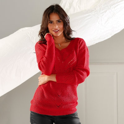 Pull col V maille fantaisie Rouge: Vue 2