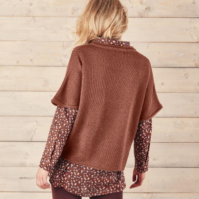 Pull poncho manches coudes Moka: Vue 2