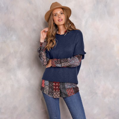 Pull poncho manches coudes Marine: Vue 2