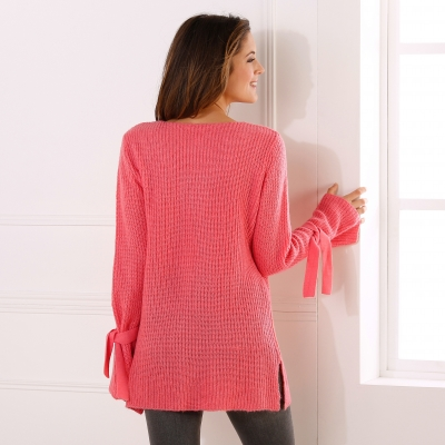 Pull col V manches nouées Corail: Vue 2