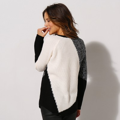 Pull jaquard maille anglaise Noir / blanc: Vue 2