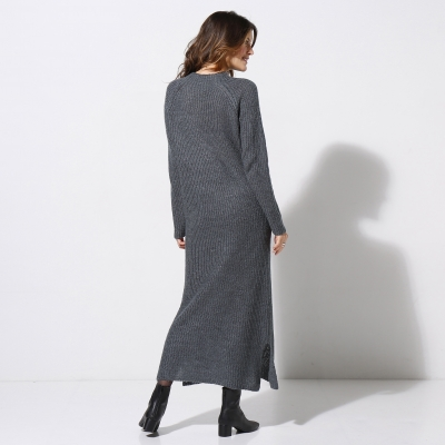 Robe pull col montant Gris chiné: Vue 2
