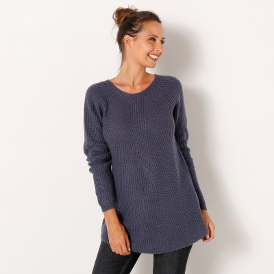 Pull dos lacé Anthracite: Vue 2