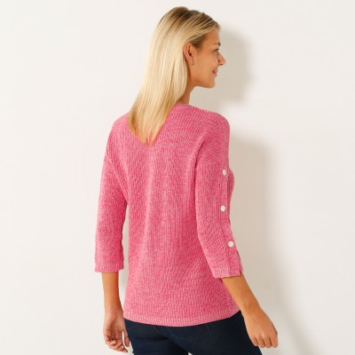 Pull maille anglaise manches 7/8ème Rose chiné: Vue 2