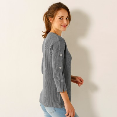 Pull maille anglaise manches 7/8ème Gris: Vue 2