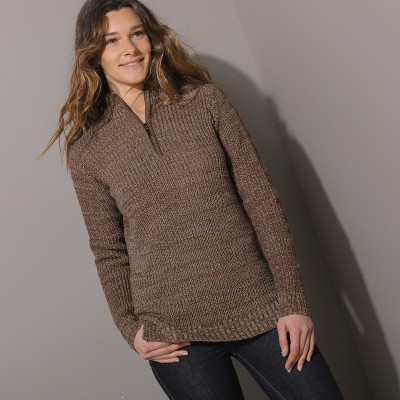 Pull col montant maille anglaise 30% laine Taupe chiné: Vue 2