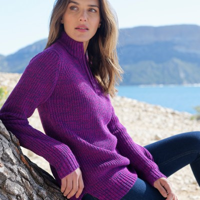Pull col montant maille anglaise 30% laine Violine chiné: Vue 2