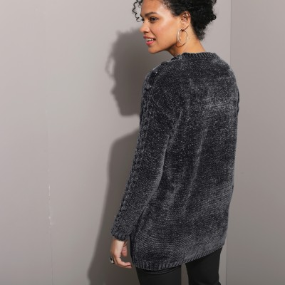 Pull torsades maille chenille Gris: Vue 2