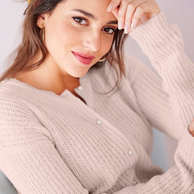 Cardigan boutons perles toucher mohair Nude: Vue 2