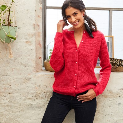 Cardigan boutons perles maille anglaise Rouge oran: Vue 2
