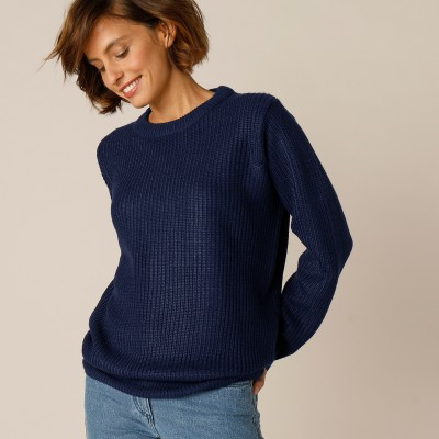 Pull col rond maille anglaise Marine: Vue 2