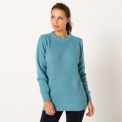 Pull col rond maille anglaise Céladon: Vue 2