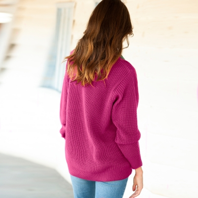 Pull col rond maille anglaise Framboise: Vue 2
