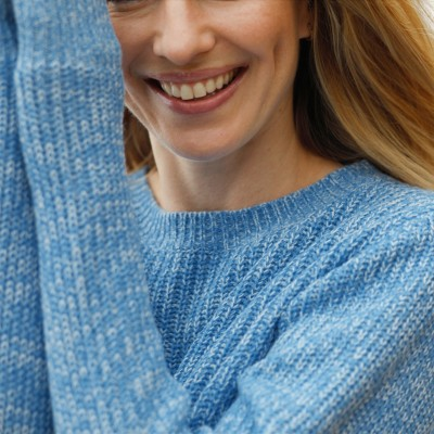 Pull col rond maille anglaise Bleu chiné: Vue 2
