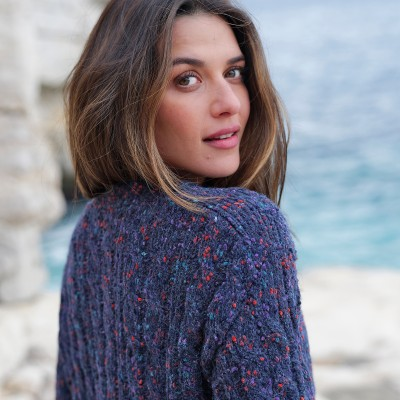 Pull col bateau maille bouclette Marine: Vue 2