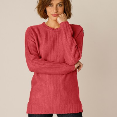 Pull femme col rond maille fantaisie Paprika: Vue 2
