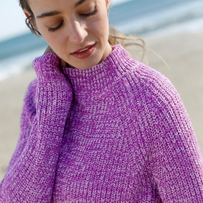 Pull col montant maille anglaise Prune chiné: Vue 2