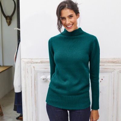 Pull col montant maille côtelée Vert sapin: Vue 2