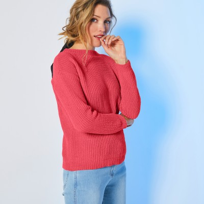 Pull col rond maille chenille Rouge grisé: Vue 2